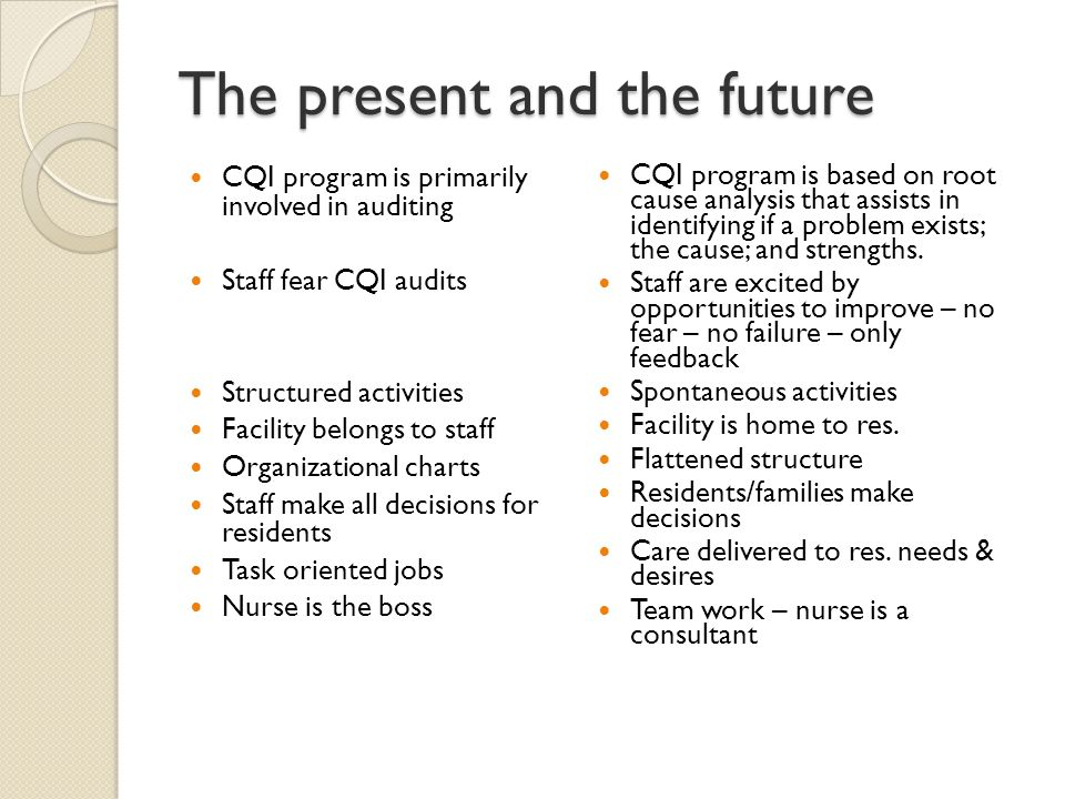 The present and the future CQI program is primarily involved in auditing Staff fear CQI audits Structured activities Facility belongs to staff Organizational charts Staff make all decisions for residents Task oriented jobs Nurse is the boss CQI program is based on root cause analysis that assists in identifying if a problem exists; the cause; and strengths.