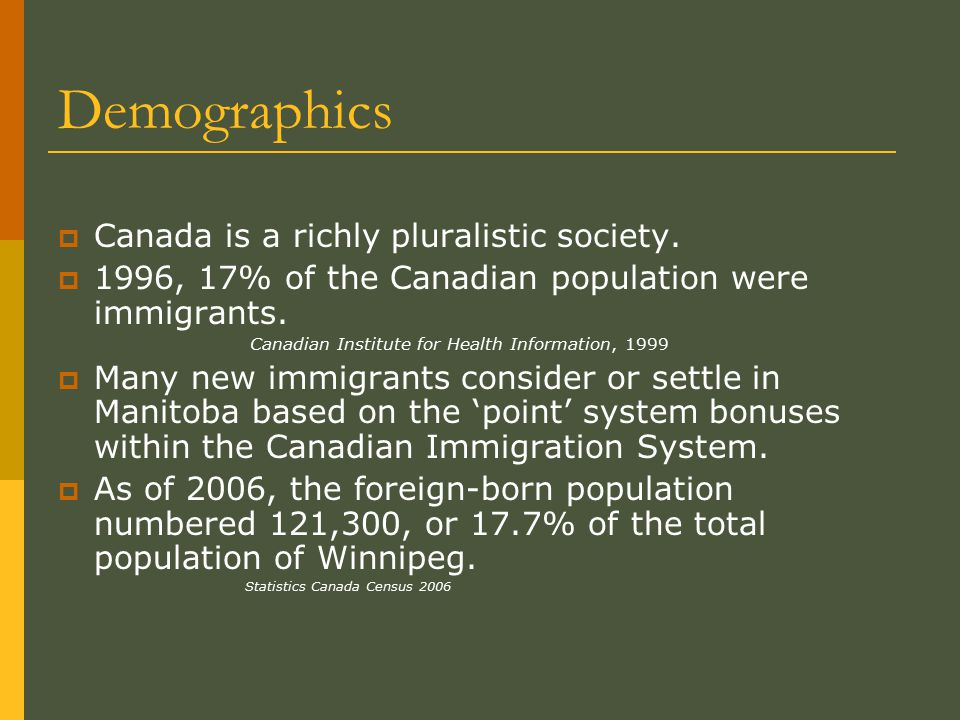 Demographics  Manitoba's immigration rate is relatively high and ranked third among the provinces behind Alberta and Ontario.