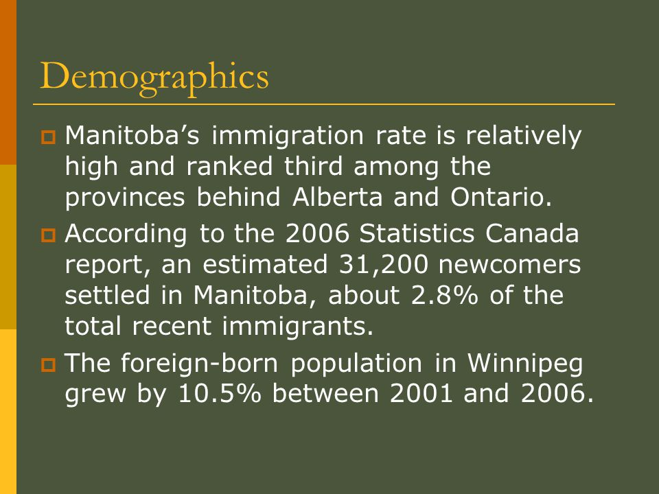 Demographics  About 1 in 5 foreign-born residents of Winnipeg were recent immigrants, predominantly born in Asia and the Middle East.