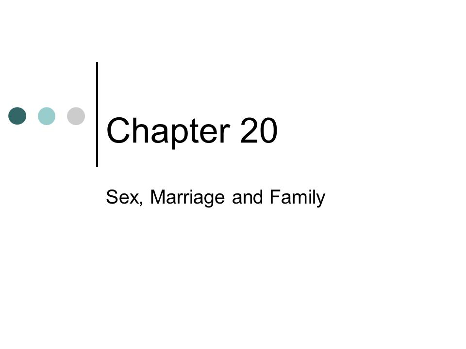 Chapter 20 Sex, Marriage and Family