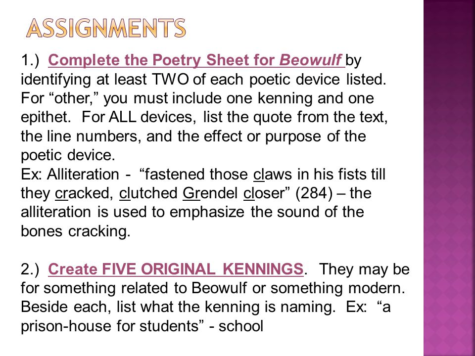 1.) Complete the Poetry Sheet for Beowulf by identifying at least TWO of each poetic device listed.
