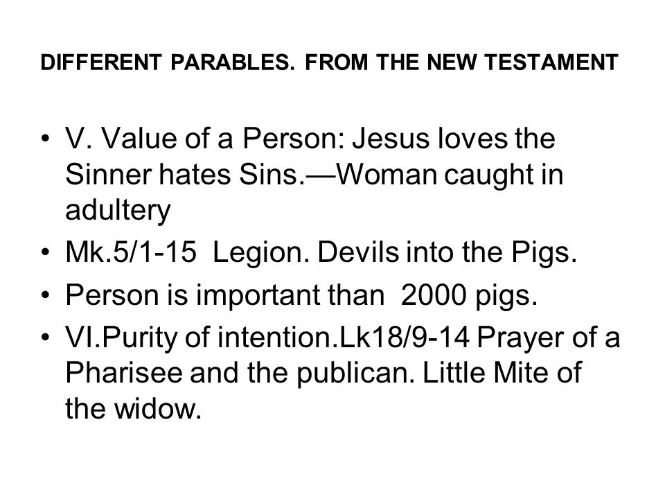 DIFFERENT PARABLES. FROM THE NEW TESTAMENT V.