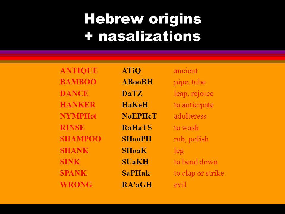 Hebrew origins + nasalizations ANTIQUEancient BAMBOOpipe, tube DANCEleap, rejoice HANKERto anticipate NYMPHetadulteress RINSEto wash SHAMPOOrub, polis