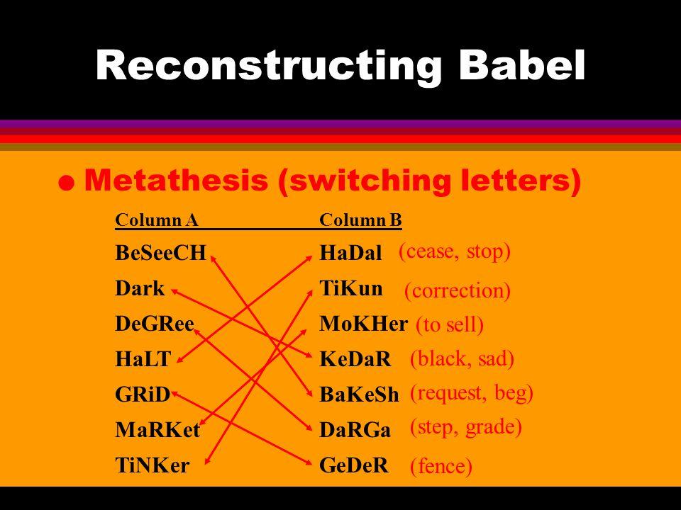 Reconstructing Babel l Metathesis (switching letters) Column AColumn B BeSeeCHHaDal DarkTiKun DeGReeMoKHer HaLTKeDaR GRiDBaKeSh MaRKetDaRGa TiNKerGeDe