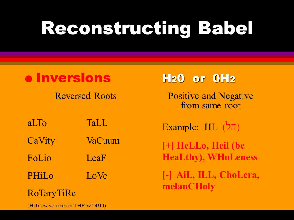 Reconstructing Babel l Inversions H 2 0 or 0H 2 Positive and Negative from same root aLToTaLL CaVity VaCuum FoLio LeaF PHiLoLoVe RoTaryTiRe (Hebrew sources in THE WORD) Reversed Roots Example: HL (  ) [+] HeLLo, Heil (be HeaLthy), WHoLeness [-] AiL, ILL, ChoLera, melanCHoly