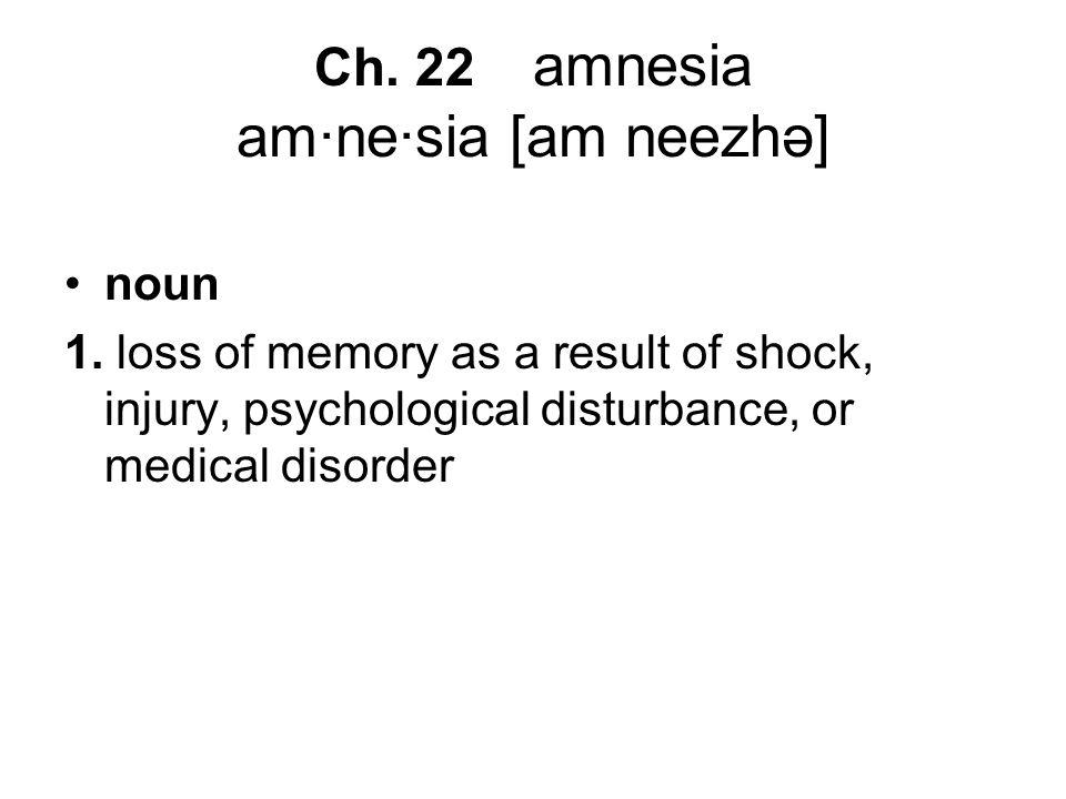 Ch. 22 amnesia am·ne·sia [am neezhə] noun 1.