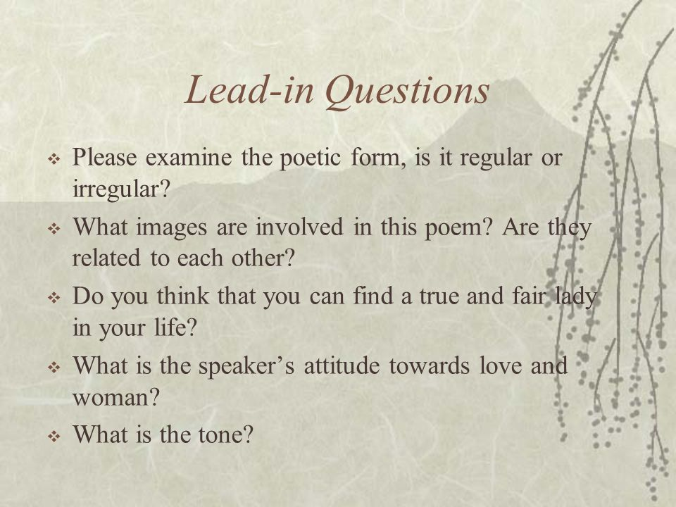 Lead-in Questions  Please examine the poetic form, is it regular or irregular?  What images are involved in this poem? Are they related to each othe