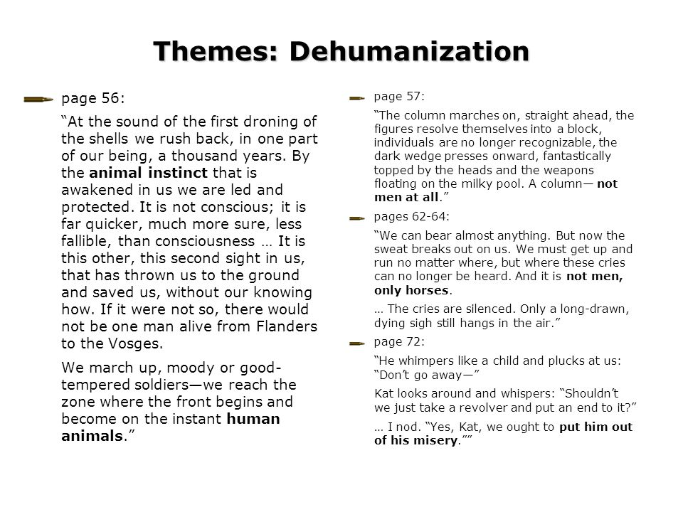 "Themes: Dehumanization page 57: ""The column marches on, straight ahead, the figures resolve themselves into a block, individuals are no longer recogni"