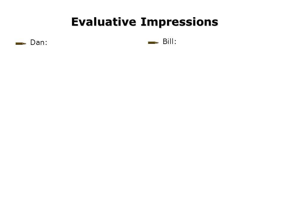 Evaluative Impressions Bill: Dan: