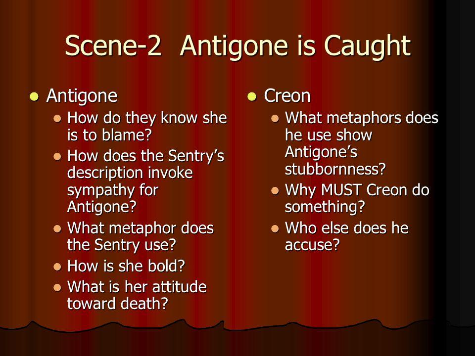 Scene-2 Antigone is Caught Antigone Antigone How do they know she is to blame? How do they know she is to blame? How does the Sentry's description inv