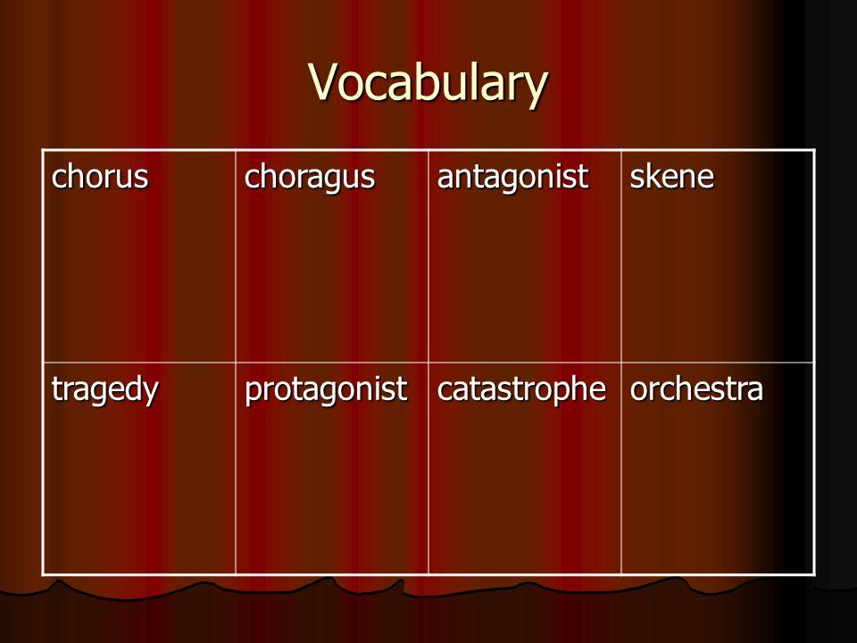 Vocabulary choruschoragusantagonistskene tragedyprotagonistcatastropheorchestra