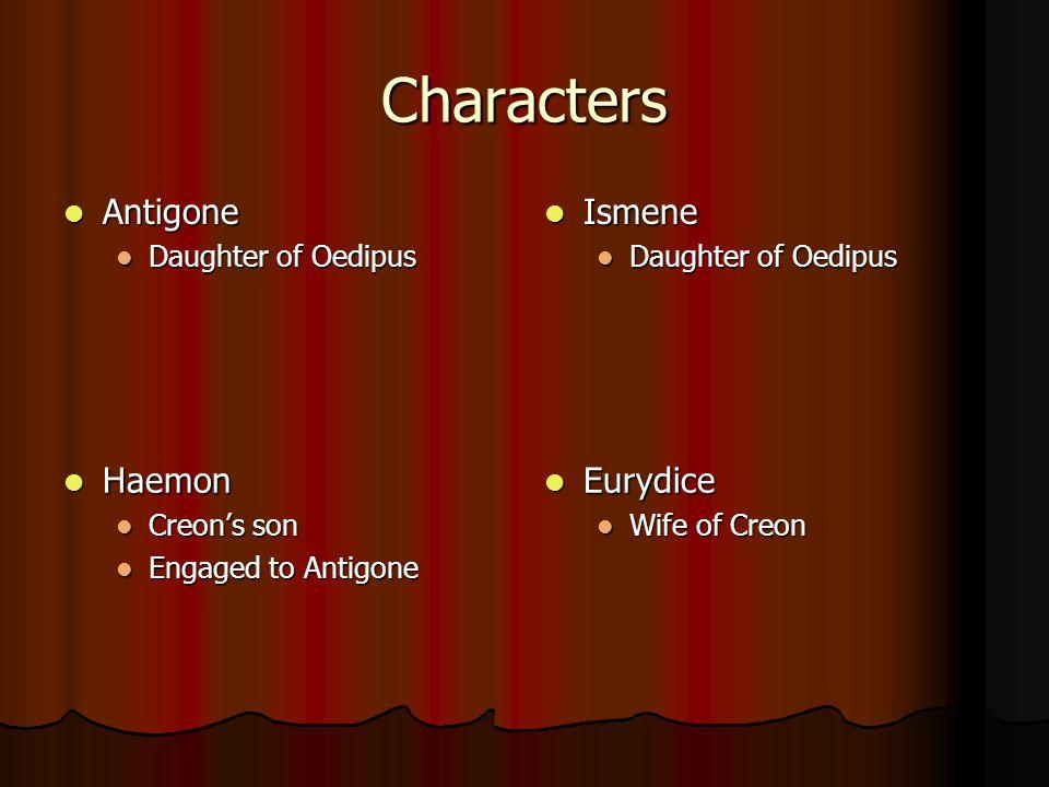 Characters Antigone Antigone Daughter of Oedipus Daughter of Oedipus Ismene Ismene Daughter of Oedipus Haemon Haemon Creon's son Engaged to Antigone E