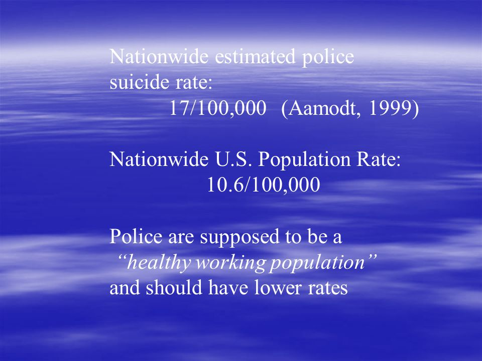 27% (86) of 318 surveyed departments reported suicides over the past 5 years Number of suicides Percent 157 % 222 % 35 % 46 % 53 % 6+7 % Violanti, 2005