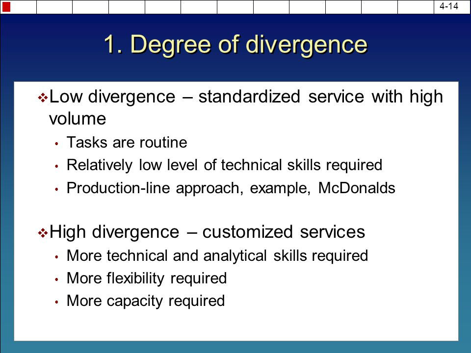 1. Degree of divergence  Low divergence – standardized service with high volume Tasks are routine Relatively low level of technical skills required P