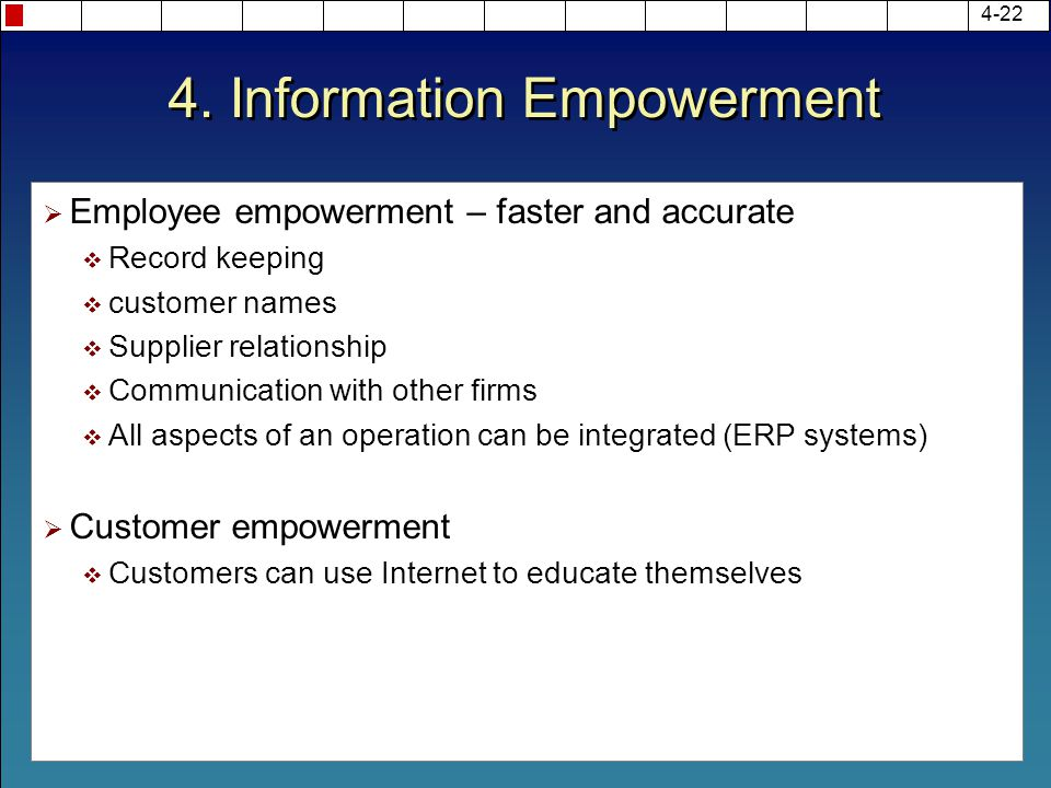 4. Information Empowerment  Employee empowerment – faster and accurate  Record keeping  customer names  Supplier relationship  Communication with