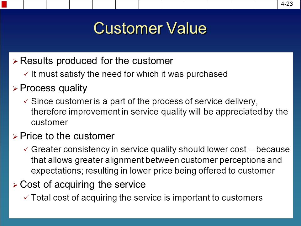 Customer Value  Results produced for the customer It must satisfy the need for which it was purchased  Process quality Since customer is a part of t