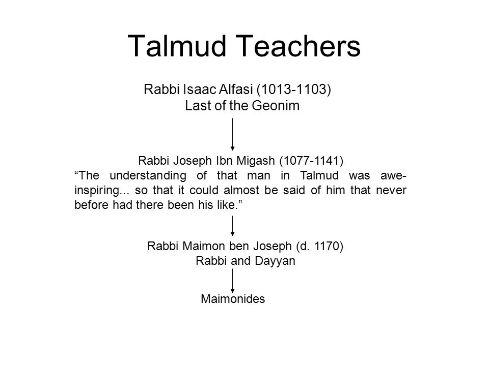 Talmud Teachers Rabbi Isaac Alfasi (1013-1103) Last of the Geonim Maimonides Rabbi Maimon ben Joseph (d. 1170) Rabbi and Dayyan Rabbi Joseph Ibn Migas