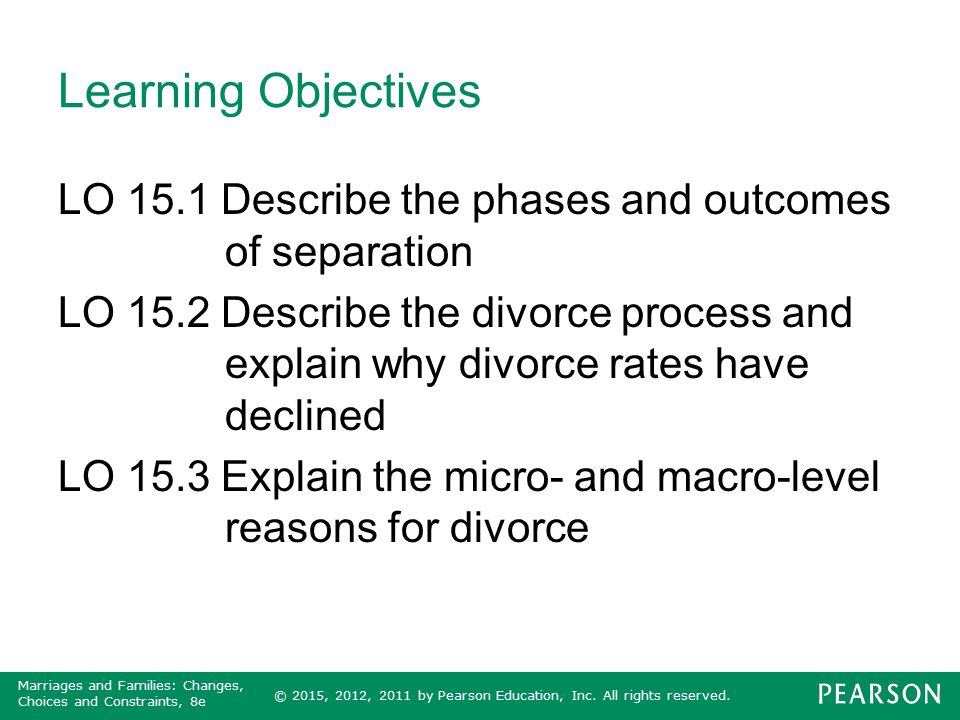 © 2015, 2012, 2011 by Pearson Education, Inc. All rights reserved. Marriages and Families: Changes, Choices and Constraints, 8e Learning Objectives LO