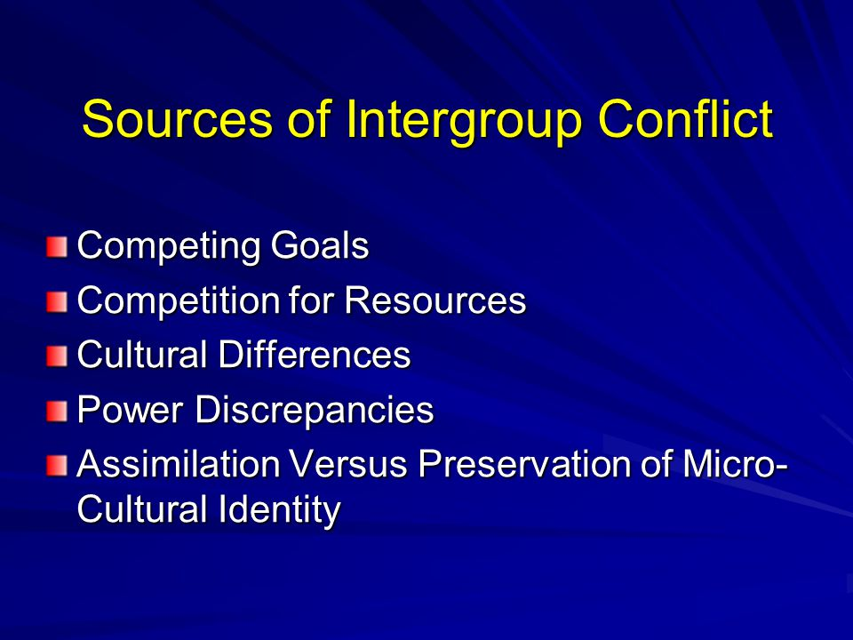 Sources of Intergroup Conflict Competing Goals Competition for Resources Cultural Differences Power Discrepancies Assimilation Versus Preservation of Micro- Cultural Identity