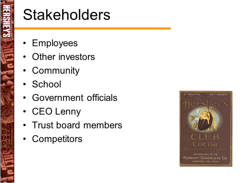 Stakeholders Employees Other investors Community School Government officials CEO Lenny Trust board members Competitors