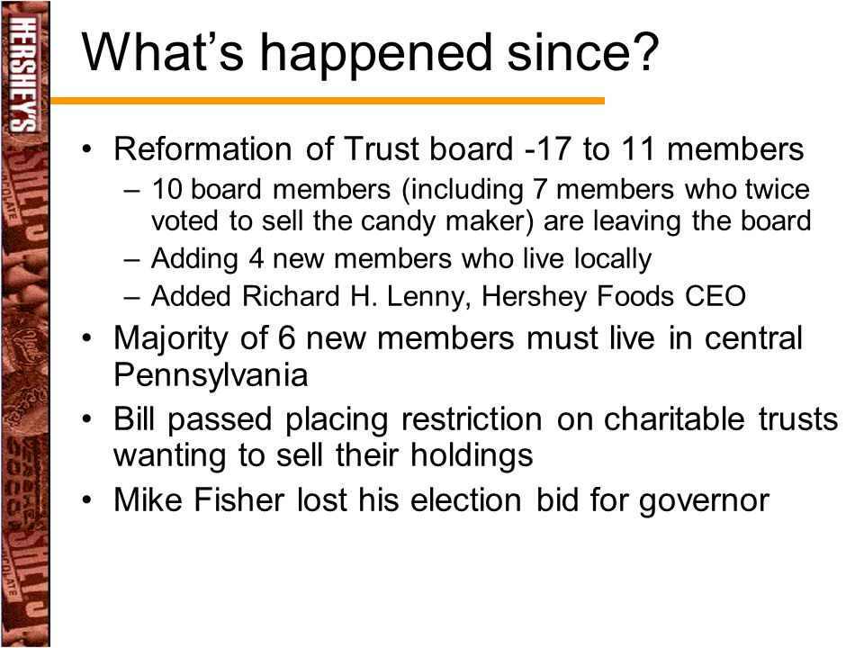 What's happened since? Reformation of Trust board -17 to 11 members –10 board members (including 7 members who twice voted to sell the candy maker) ar