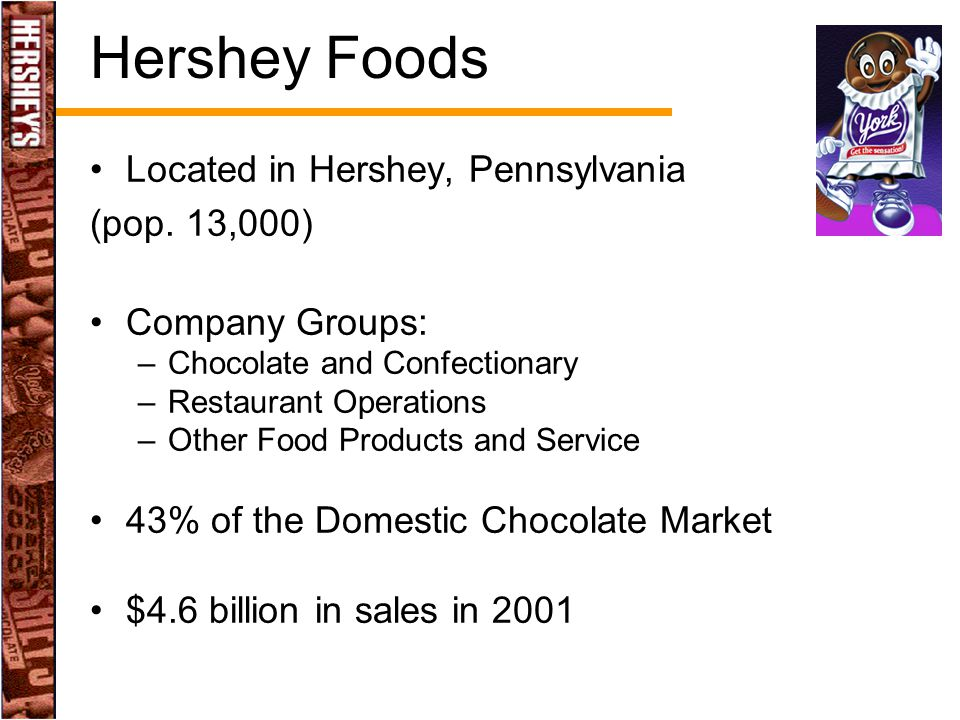 Located in Hershey, Pennsylvania (pop. 13,000) Company Groups: –Chocolate and Confectionary –Restaurant Operations –Other Food Products and Service 43