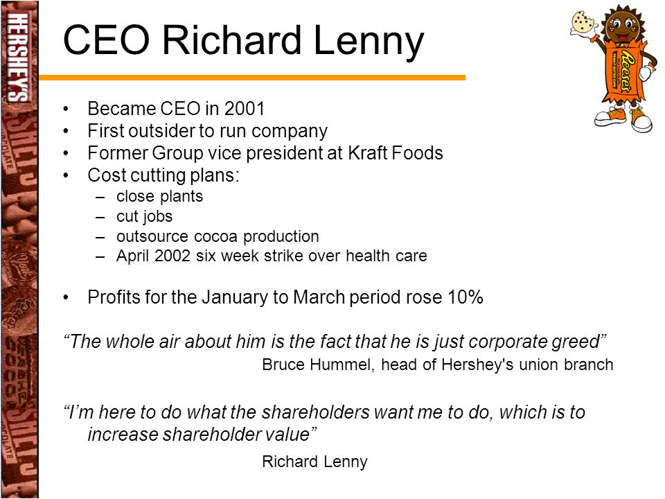 CEO Richard Lenny Became CEO in 2001 First outsider to run company Former Group vice president at Kraft Foods Cost cutting plans: –close plants –cut j