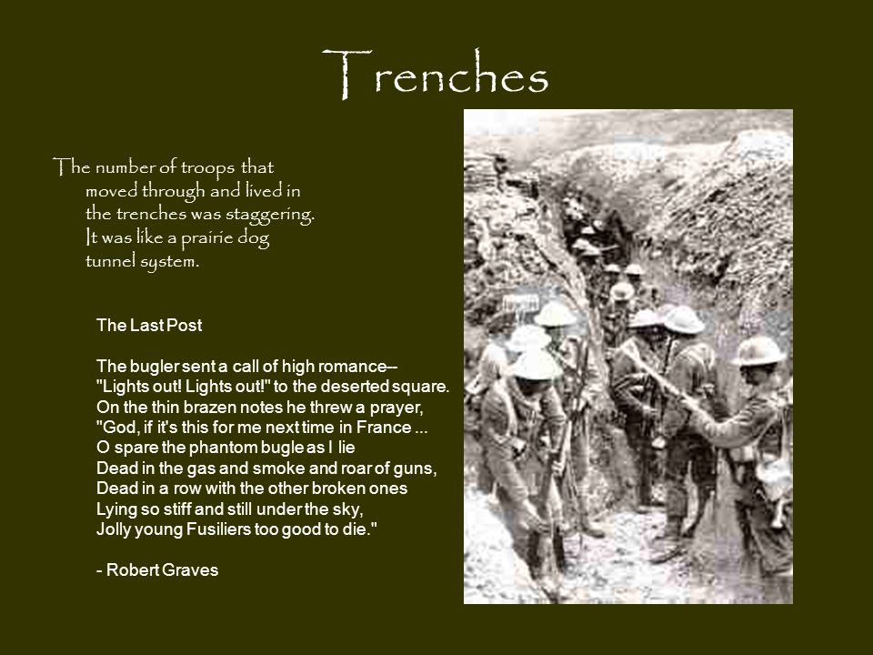 Trenches The number of troops that moved through and lived in the trenches was staggering. It was like a prairie dog tunnel system. The Last Post The