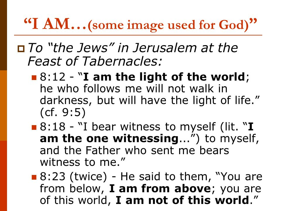 I AM… (some image used for God)  To the Jews in Jerusalem at the Feast of Tabernacles: 8:12 - I am the light of the world; he who follows me will not walk in darkness, but will have the light of life. (cf.