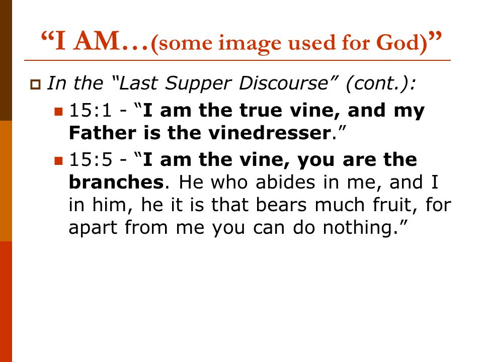 I AM… (some image used for God)  In the Last Supper Discourse (cont.): 15:1 - I am the true vine, and my Father is the vinedresser. 15:5 - I am the vine, you are the branches.