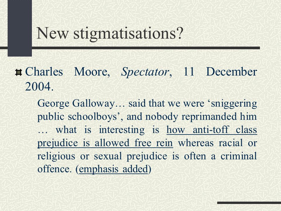 New stigmatisations? Charles Moore, Spectator, 11 December 2004. George Galloway… said that we were 'sniggering public schoolboys', and nobody reprima