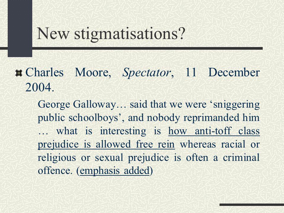 New stigmatisations. Charles Moore, Spectator, 11 December 2004.