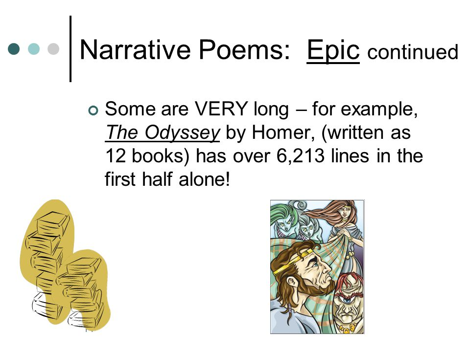 13 Narrative Poems: Epic Very long narrative (story) poem that tells of the adventures of a hero. Purpose is to help the reader understand the past an