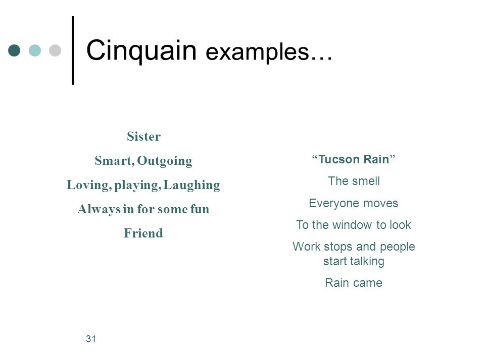 30 Cinquain A Cinquain is a poem that resembles a diamond. It has 5 lines and begins with one word. The 2nd line has two adjectives that describe that