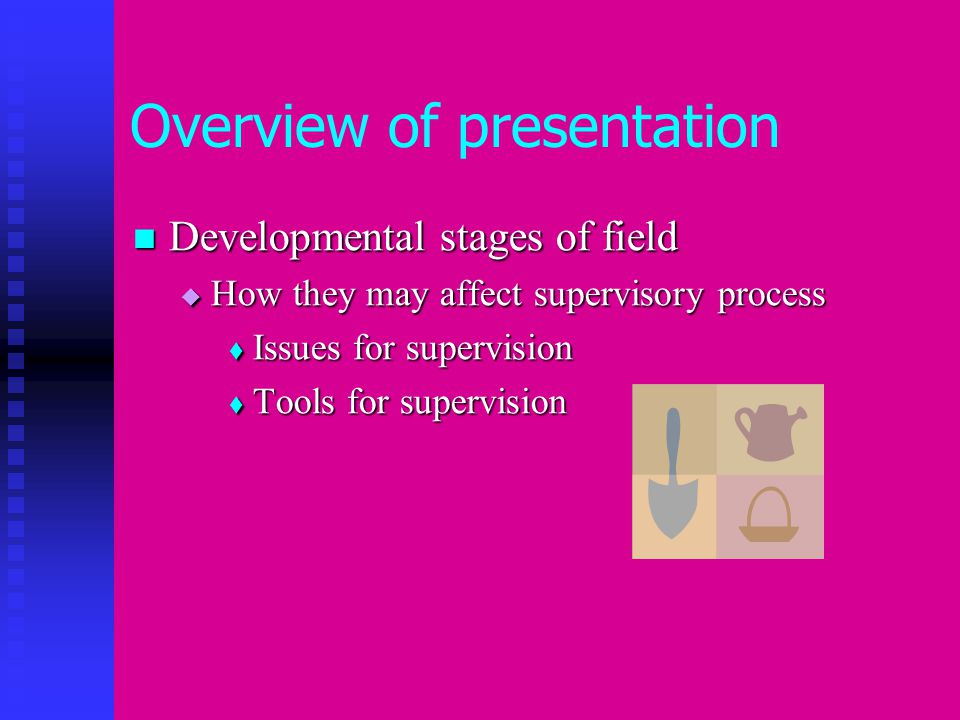 Overview of presentation Developmental stages of field Developmental stages of field  How they may affect supervisory process  Issues for supervision  Tools for supervision