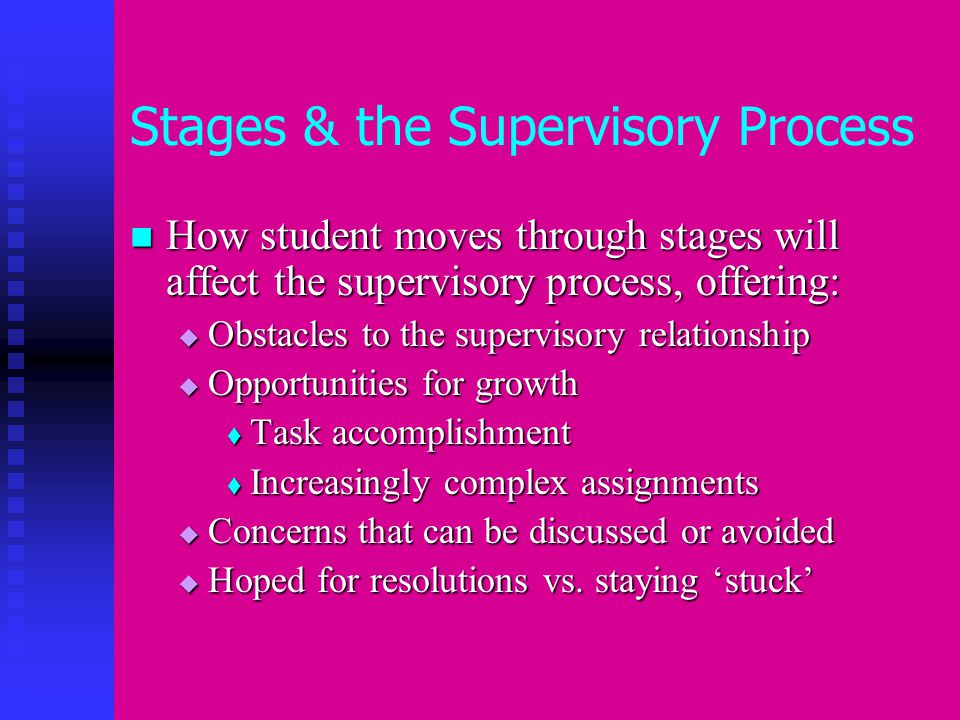 Stage 3: Tools for supervision Review process recordings, assessments, macro assignments Review process recordings, assessments, macro assignments  Interviewing and assessment skills  Use of self  Beginning to apply theory to interview or task Revisit Learning Plan Revisit Learning Plan Early Assessment Early Assessment  Discuss where growth most needed Review Final Evaluation to check that NCSSS expectations are being met Review Final Evaluation to check that NCSSS expectations are being met