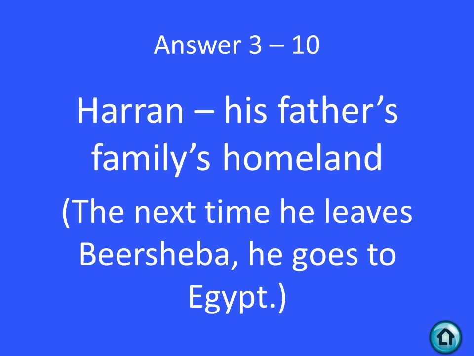Answer 3 – 10 Harran – his father's family's homeland (The next time he leaves Beersheba, he goes to Egypt.)