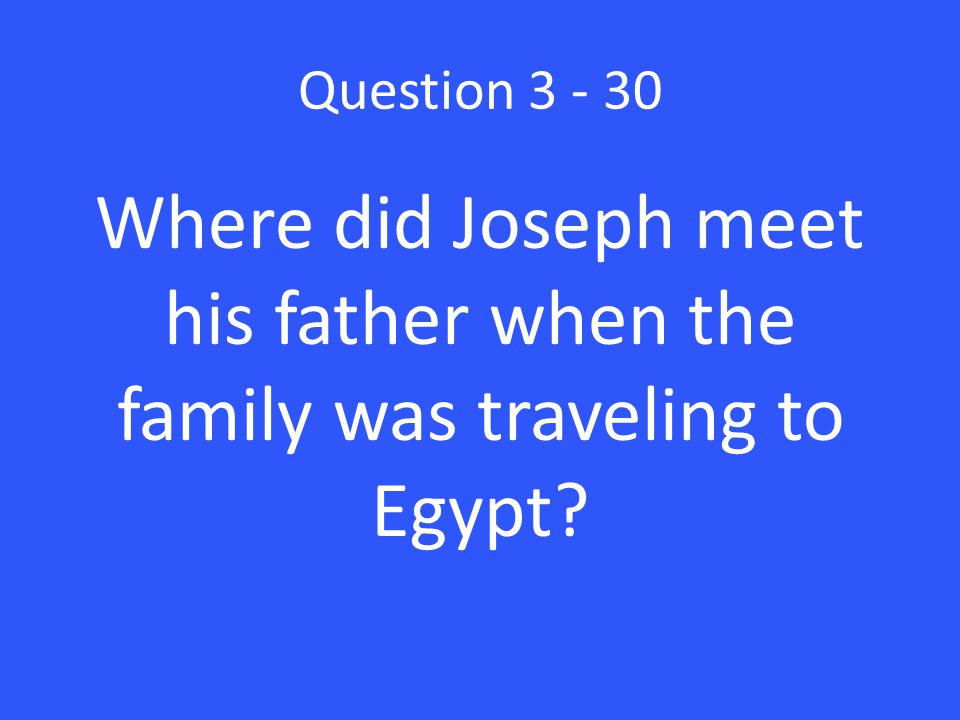 Question 3 - 30 Where did Joseph meet his father when the family was traveling to Egypt?