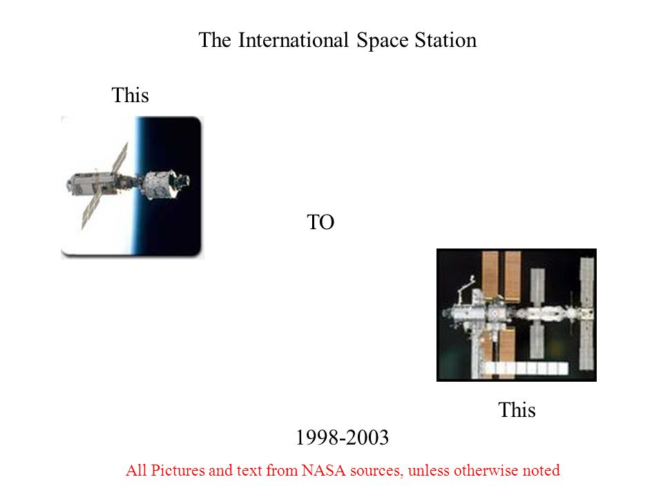 The International Space Station TO This 1998-2003 All Pictures and text from NASA sources, unless otherwise noted