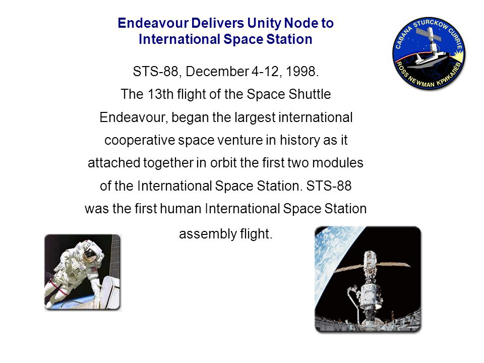 Endeavour Delivers Unity Node to International Space Station STS-88, December 4-12, 1998.