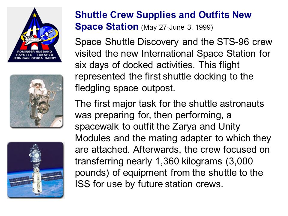 Shuttle Crew Supplies and Outfits New Space Station (May 27-June 3, 1999) Space Shuttle Discovery and the STS-96 crew visited the new International Space Station for six days of docked activities.