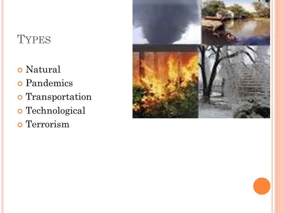 T YPES Natural Pandemics Transportation Technological Terrorism
