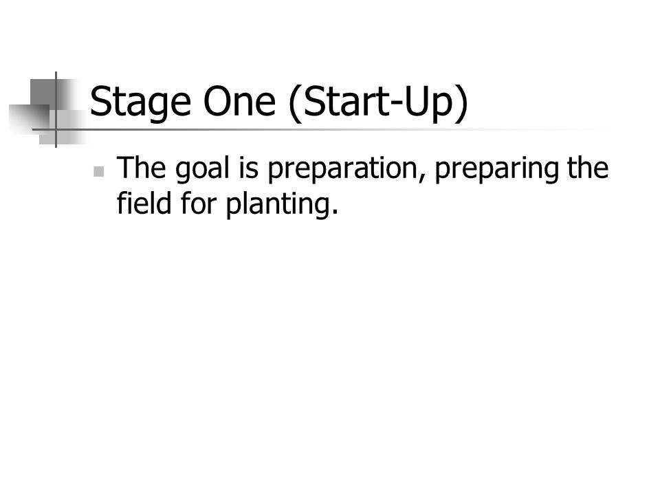 Stage One (Start-Up) The goal is preparation, preparing the field for planting.