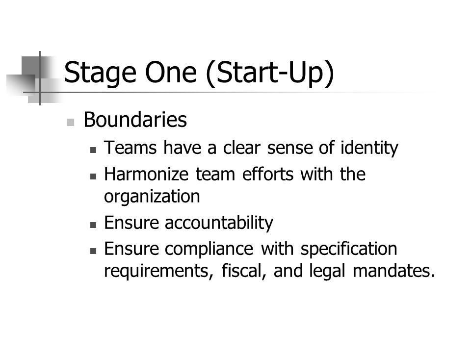 Stage One (Start-Up) Boundaries Teams have a clear sense of identity Harmonize team efforts with the organization Ensure accountability Ensure compliance with specification requirements, fiscal, and legal mandates.