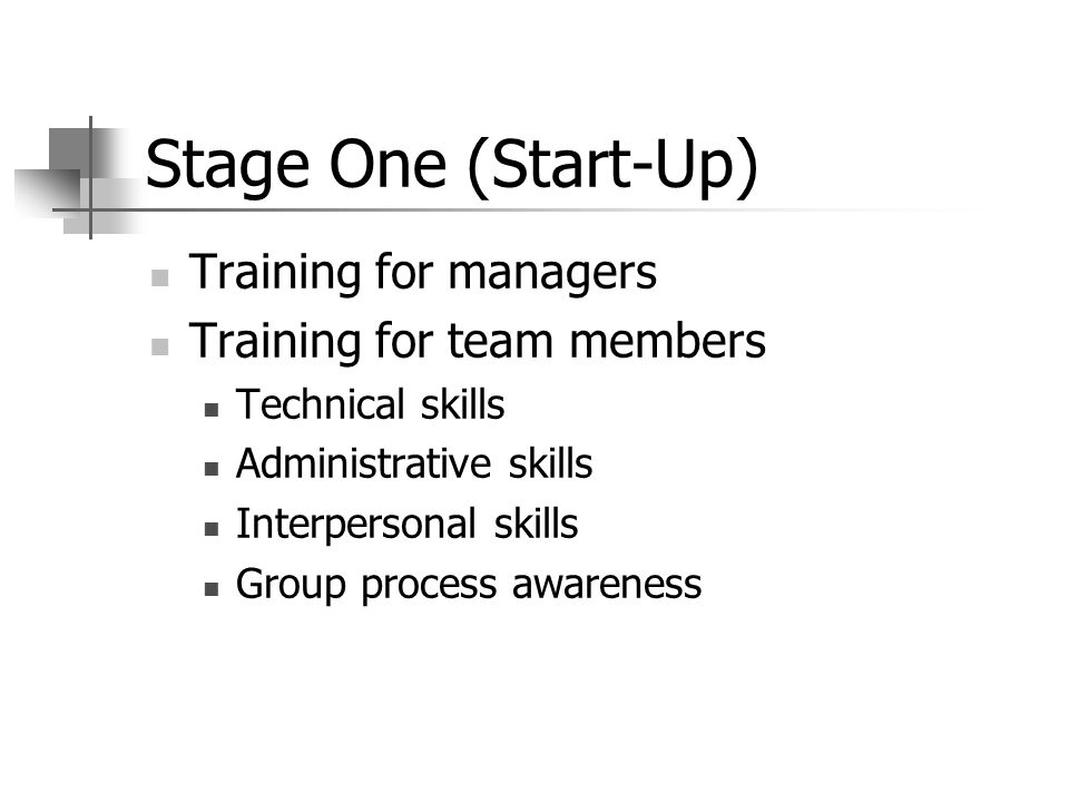 Stage One (Start-Up) Training for managers Training for team members Technical skills Administrative skills Interpersonal skills Group process awareness