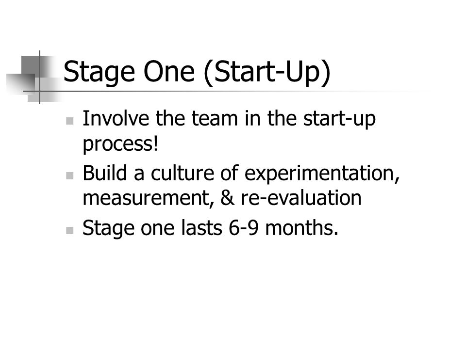 Stage One (Start-Up) Involve the team in the start-up process.
