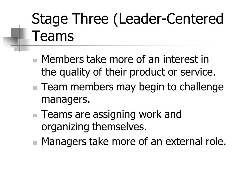 Stage Three (Leader-Centered Teams Members take more of an interest in the quality of their product or service.