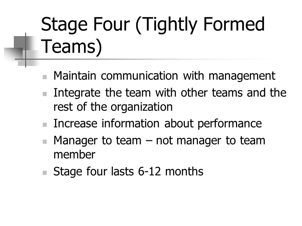 Stage Four (Tightly Formed Teams) Maintain communication with management Integrate the team with other teams and the rest of the organization Increase information about performance Manager to team – not manager to team member Stage four lasts 6-12 months