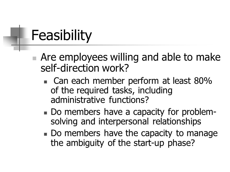 Feasibility Are employees willing and able to make self-direction work.