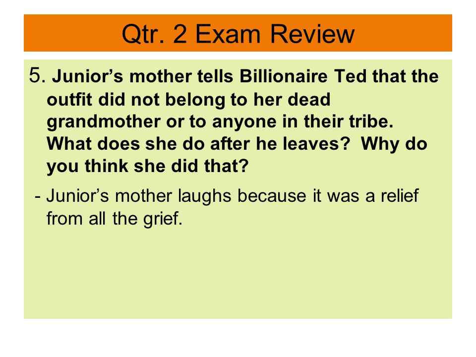 Qtr. 2 Exam Review 17.Who are the two main characters in Smoke Signals ? - Victor and Thomas